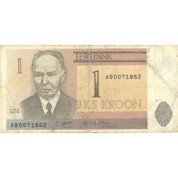 Estonia 1 Kroon/i. 1992. BC+/MBC-. PIK. 69