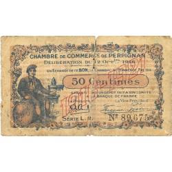 Francia 50 Cts. 1916. 12 Oct. MC. (Bpn de la Chambre de Comerce de Perpignan). (Rotura central-Muy usado)