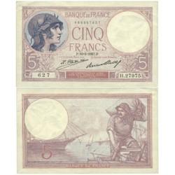 Francia 5 Francos. 1927. 10-05-P. SC. (Serie H). ESCASO/A. PIK. 72 d