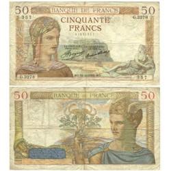 Francia 50 Francos. 1935. 31-10-BO. MBC-. (Serie G). PIK. 85