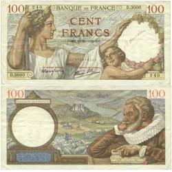 """Francia 100 Francos. 1939. 12-10-RZ. EBC+/SC-. (Serie D). Lev.doblez. En anv.mención manuscrita en rojo """"Maurou"""". PIK. 94"""