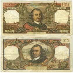 Francia 100 Francos. 1969. -5-6-G. MBC-. (Serie E.415). Agujeritos de aguja y oxid.de clip. PIK. 149e