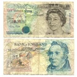 Gran Bretaña 5 Libra/Pound. 1990. BC+/MBC-. PIK. 382 a