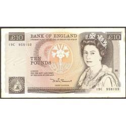 Gran Bretaña 10 Libra/Pound. 1984. (s/f). MBC. Marcas de doblez. PIK. 379 c
