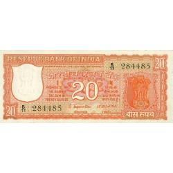 India.-Rep. 20 Rupia. 1970. (s/f). SC. Dos agujeritos de grapa normales en estos billetes. PIK. 61 a