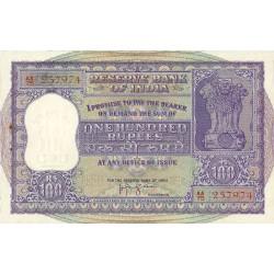 India.-Rep. 100 Rupia. SC. (Governador, a dcha.). RARO/A. Dos agujerios de grapa, normal en este tipo de billete. PIK. 45