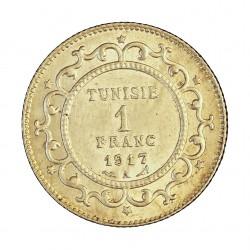 Tunez 1 Francos. 1917. (AH.1335). A-(Paris). SC-/SC. 5gr. AG. KM. 238. Ø23mm