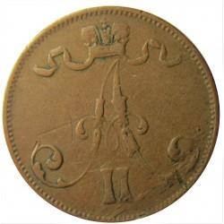 Finlandia 5 Pennia. 1875. MBC-. (Rayita). 6,5gr. CU. KM. 4.2. Ø25mm