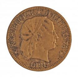Haiti 1 Cts. 1881. MBC/MBC-. 5gr. AE. KM. 42. Ø24,5mm