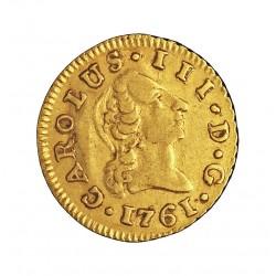 España ½ Escudos. 1761. M-(Madrid). JP. MBC. 1,69gr. AU. Ley:0,917. CT. 680 - KM. 689.1. Ø15mm