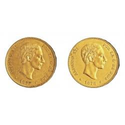 España 25 Ptas. 1877. 1878. (Dos estrellas). MBC-/MBC. 16,13gr. AU. Ley:0,900. CT. 2 y 4 - HG. 173 y 174. Ø24mm