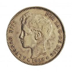 España 1 Ptas. 1902. *1-/*02. S.M.V. MBC+. 5gr. Ley:0,835