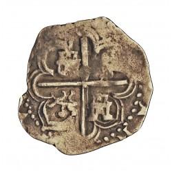 España 1 Reales. 1556. 1598. Sevilla. -Ensay.(?). MBC. 3,3gr. AG. Ley:0,900. (Solo se ven los dos primeros dígitos de la fecha: