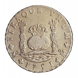 España 8 Reales. 1750. Mº-(Mejico). MF. MBC/MBC+. 27,067gr. AG. Ley:0,917. CT. 290. Ø39mm