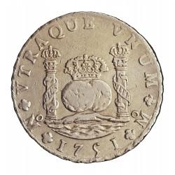 España 8 Reales. 1751. Mº-(Mejico). MF. MBC/MBC+. 27,067gr. AG. Ley:0,917. CT. 290. Ø39mm