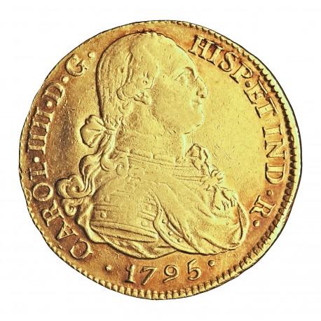 España 8 Escudos. 1795. P-(Popayan)-(Colombia). JF. MBC/MBC+. 27,03gr. AU. Ley:0,875. AUC. 1667 - KM. 62.2. Ø36mm
