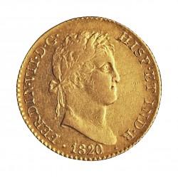 España 2 Escudos. 1820. M-(Madrid). GJ. MBC. 6,77gr. AU. Ley:0,875. AUC. 1628 - KM. 483.1. Ø22mm