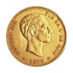 España 25 Ptas. 1878. *18*78. EMM. MBC/MBC+. 8,065gr. AU. Ley:0,900. AUC. 73 - KM. 673. Ø24mm