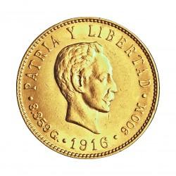 Cuba 5 Pesos. 1916. SC-/SC. 8,36gr. AU. Ley:0,900. KM. 19. Ø21mm