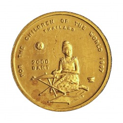 Thailandia 2000 Baht. 1997. (BE2540). PRF. (Marquitas por roce). 6,22gr. AU. Ley:0,999. KM. 380. Ø22mm