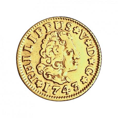 España ½ Escudos. 1743. S-(Sevilla). PJ. MBC-/MBC. 1,69gr. AU. Ley:0,917. AC. 1646 - KM. 361.2. Ø14,5mm