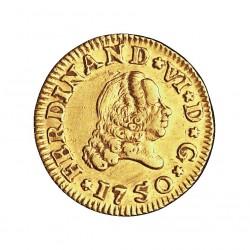España ½ Escudos. 1750. S-(Sevilla). PJ. EBC-/EBC. (Pequeña. hojita en anverso). 1,69gr. AU. Ley:0,917. AC. 537 - KM. 374. Ø1