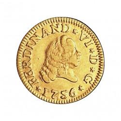 España ½ Escudos. 1756. S-(Sevilla). PJ. MBC. 1,69gr. AU. Ley:0,917. AC. 580 - KM. 374. Ø15mm