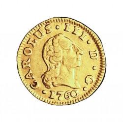 España ½ Escudos. 1760. M-(Madrid). JP. MBC-/MBC. 1,69gr. AU. Ley:0,917. (Corona lisa). AC. 1242 - KM. 389.1. Ø15mm