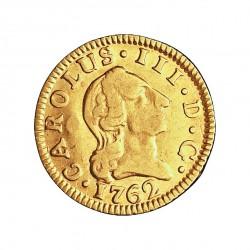 España ½ Escudos. 1762. M-(Madrid). JP. MBC-/MBC. 1,69gr. AU. Ley:0,917. AC. 1245 - KM. 389.1. Ø15mm