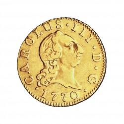 España ½ Escudos. 1770. M-(Madrid). PJ. MBC-/MBC. 1,69gr. AU. Ley:0,917. AC. 1254 - KM. 389.1. Ø15mm