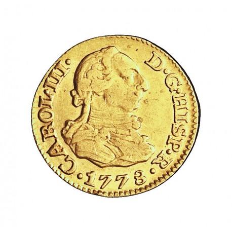 España ½ Escudos. 1778. M-(Madrid). PJ. MBC-. 1,69gr. AU. Ley:0,901. AC. 1267 - KM. 415.1. Ø15mm