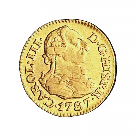 España ½ Escudos. 1787. M-(Madrid). D.V. MBC/MBC+. 1,69gr. AU. Ley:0,875. AC. 1281 - KM. 425.1. Ø15mm