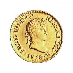 España ½ Escudos. 1816. Mº-(Mejico). JJ. EBC/EBC+. 1,691gr. AU. Ley:0,875. CT. 1490 - KM. 112. Ø15mm