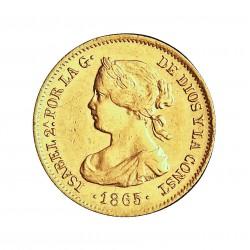 España 2 Escudos. 1865. Madrid. MBC+/EBC-. 1,75gr. AU. Ley:0,900. AC. 675 - KM. 630. Ø15mm