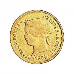 España 1 Pesos. 1864. Manila. MBC-/MBC. 1,75gr. AU. Ley:0,900. AC. 826 - KM. 142. Ø15mm