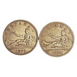 España 5 Ptas. 1870. (SIN **/**). SNM. BC-/BC. 25gr. AG. Ley:0,900. (Imagen Tipo). HG. 39 - KM. 655. Ø37mm