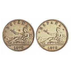 España 5 Ptas. 1870. *18*70-(Flojas). Madrid. SNM. BC+. 25gr. AG. Ley:0,900. (Imagen tipo). HG. 110. Ø37mm