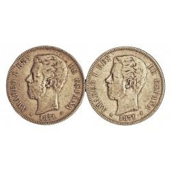 España 5 Ptas. 1871. (SIN **/**). BC-/BC. 25gr. AG. Ley:0,900. (Imagen Tipo). HG. 113. Ø37mm