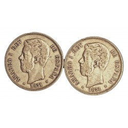 España 5 Ptas. 1871. *18*74. SDM. BC-/BC. 25gr. AG. Ley:0,900. (Imagen Tipo). AUC. 5 - KM. 666. Ø37mm