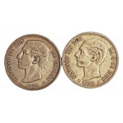 España 5 Ptas. 1875. 1979. (SIN **/**). BC-/BC. 25gr. AG. Ley:0,900. (Imagen Tipo. Fechas segun estoc). AUC. 35 a 42 - KM. 671