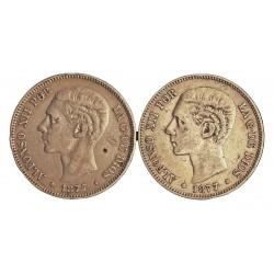 España 5 Ptas. 1875. 1879. CON **/**. Madrid. SDM. BC-/BC. 25gr. AG. Ley:0,900. (Imagen Tipo. Fechas segun estoc). AUC. 35 a 4