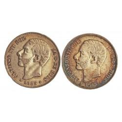 España 5 Ptas. 1882. 1885. (CON **/**). BC-/BC. 25gr. AG. Ley:0,900. (Imagen Tipo. Fechas segun estoc). AUC. 47/62 - KM. 688.