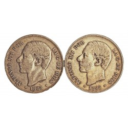 España 5 Ptas. 1882. 1885. (SIN **/**). BC-/BC. 25gr. AG. Ley:0,900. (Imagen Tipo. Fechas segun estoc). AUC. 51 a 62 - KM. 688