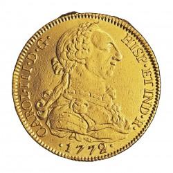 España 8 Escudos. 1772. S-(Sevilla). CF. MBC-. (Marquitas propias de haber servido como joya). 27,064gr. AU. Ley:0,901. AC. 2