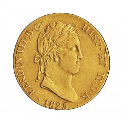 España 2 Escudos. 1825. M-(Madrid). A.J. MBC+. (Insig.gpcto.cto.). 6,75gr. AU. Ley:0,875. AC. 1631. Ø21mm