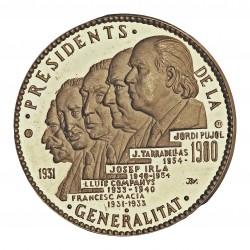 España Medalla. 1980. AG. 21,4gr. Anv: Bustos superpuestos de 5 presidentes. Ley.: Presidents 1931-1980/GENELARITAT. Rev: Su es