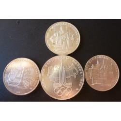 Rusia-URSS LOTE. 1977. AG. 83,33gr. Ley:0,900. (4 Monedas: 1 de 10 Rub. mas 3 de 5 Rublos de 1977). (4 Mdas.Diferentes de 1977)-