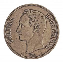 Venezuela 5 Bolivares. 1911. AG. 25gr. Ley:0,900. (S. Bolivar). Ø37mm. MBC-. KM. 24.2