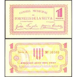 España 1 Ptas. 1937. FORNELLS DE LA SELVA-(Gi). MBC+. (Doblez). (Consejo-Serie A). RARISIMO/A. TU. 1222 - LGC. 666 A