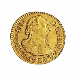España ½ Escudos. 1788. S-(Sevilla). C. EBC/SC-. .Casi inapreciable marquita anv.. 1,72gr. AU. Ley:0,875. AC. 1318 - KM. 425.